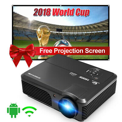 """WiFi HD 4200LM Android Projector Online Home Theater Kodi HDMI USB & Screen 100"""""""
