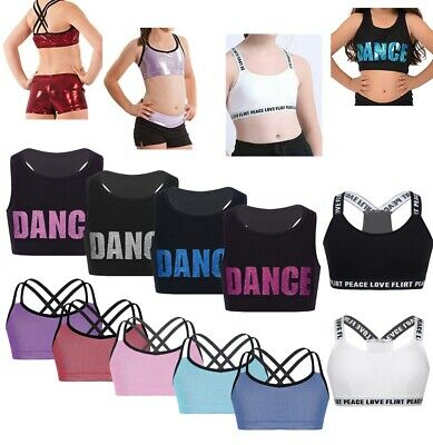 Girls Bra Tops Shiny Crop Top Dance Yoga Vest Top Sport Gym Straps Cropped Tank