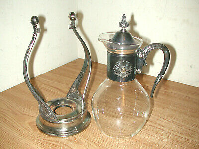 Vintage Corning Heat-Proof Glass & Silver Plated Coffee Carafe W/ Warming Stand
