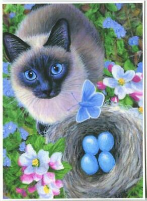 """ACEO LE Art Card Print 2.5x3.5/"""" /"""" Cat In Front Of Barn House /"""" Art by Patricia"""