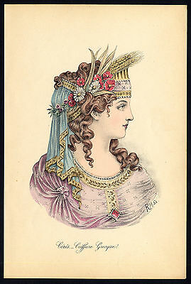 Antique print-HAIRSTYLE-WOMAN-PORTRAIT-CERES-GREEK-ALLEGORY-R. Maury-Nissy-1910