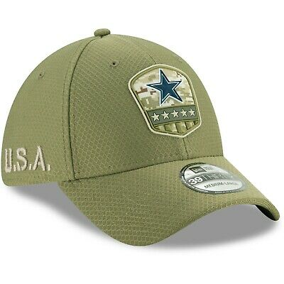 Dallas Cowboys New Era 2019 Salute to Service Sideline 39THIRTY Flex Hat - Olive