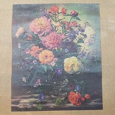 Albert Williams Floral Printed Tapestry Needlepoint Canvas Vintage Embroidery