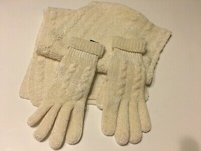 Lovely Cream Cable Chenille Gloves and Scarf Set M&S BNWOT Ladies Arran Style