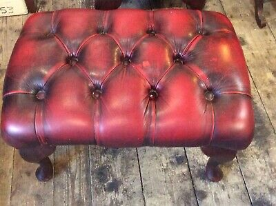 Leather Chesterfield Oxblood Footstool 2