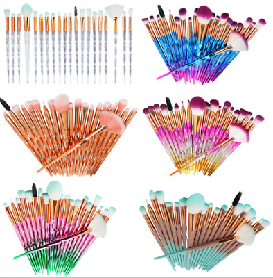 20pcs Unicorn Eyeshadow Eye Makeup Brushes Diamond  Eyebrow Blending Brush Set
