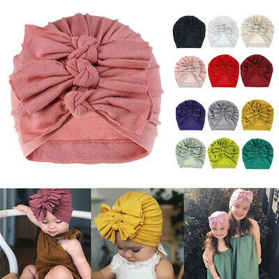 Toddler Kid Baby Boy Girl Infant Knotted  Beanie Turban Hat Cotton Cap Head Wrap