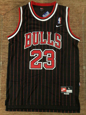 BRAND NEW Michael Jordan 23 Chicago Bulls Pinstripe Black Basketball Jersey MENS