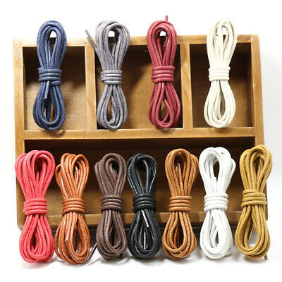 1 Pair Waxed Shoelaces Shoe Laces Round Dress Boot Leather Shoe Strings 60-180cm