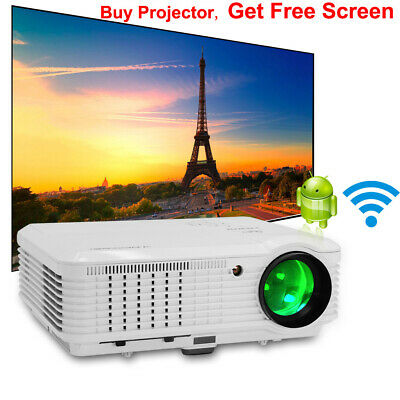 Android LED Projector 4500LM HD Home Theater HDMI USB And 100'' Portable Screen