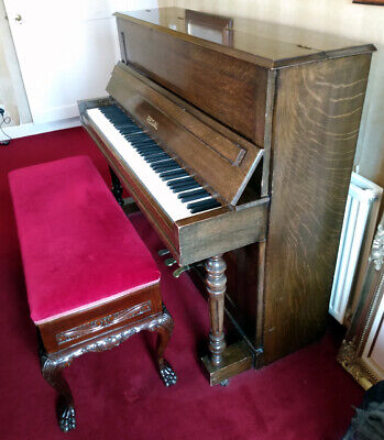 Antique Edwardian Carved Wooden Mahogany Double Piano Stool Bench VGC + Piano