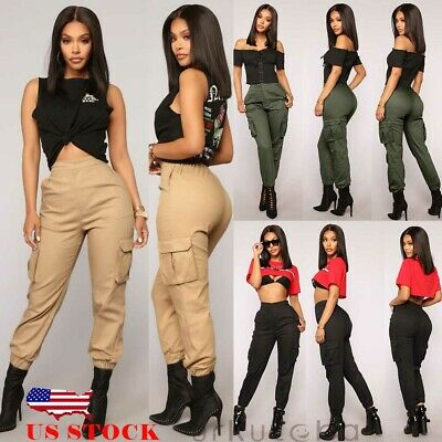 New Womens Cargo Pants High Waist Jogger Casual Trousers Pockets Sweatpants US