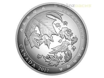 50$ Dollar Convex Maple Leaf Leaves in Motion Canada 5 oz Silver Pp Proof 2017