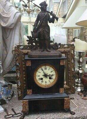 Antique French Marble Mantle Clock For Restoration Lovely Detail Collection Only