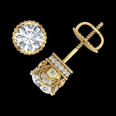 1.90CT Round Cut Diamond Solitaire Vintage Stud Earrings 14k Yellow Gold Over