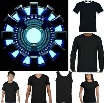 Iron Man T-Shirt Arc Reactor Mens Inspired The Avengers Fancy Dress Outfit Top