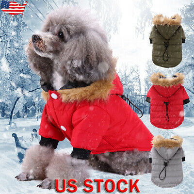 Pet Dog Clothes Fluffy Hoodie Thick Coat Puppy Winter Warm Parka Jacket Outwear