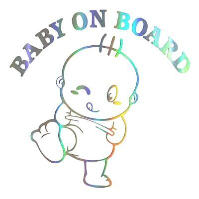 BABY ON BOARD Cute Colorful Laser Car 3D Sticker Vinyl Decal Auto Styling UK