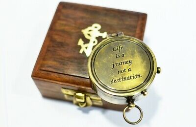 Vintage brass compass personalised compass Life is a journey engraved compass