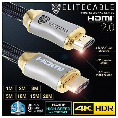 Cable HDMI 2.0 PRO 4K HDR UHD High Speed Ethernet 3D ARC Nylon Tressé Lecteur Bl