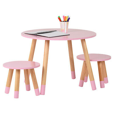 Hartleys Kids Pink Round Wooden Table & 2 Chairs Set Childrens Bedroom Playroom