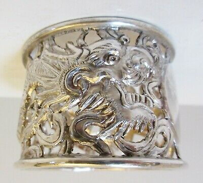 Antique Chinese Export Silver Pierced Dragon Napkin Ring