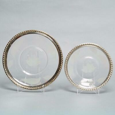 Pair Vintage Wallace Sterling Silver & Etched Glass Dishes