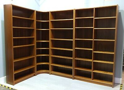 High Quality Danish Teak Veneer Modular Library Bookshelves x4 Units