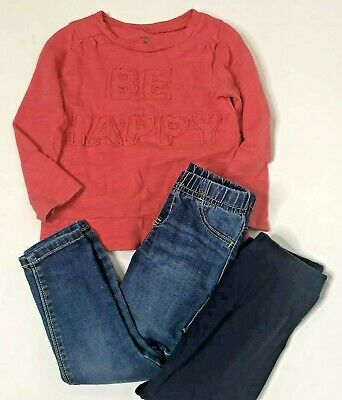3T Outfit Set Jeggings BE HAPPY Shirt Navy Blue Leggings Carters Old Navy