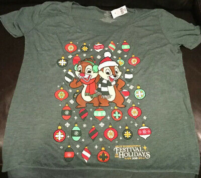 NWT Disney Epcot Festival Of The Holidays Chip & Dale Ladies Crop Shirt Large