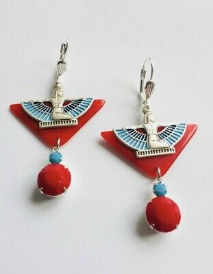 Vintage Art Deco  Cherry red Galalith Egyptian Revival Statement Earrings