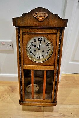 German Striking Antique Oak Wall Clock Three Glass Panels