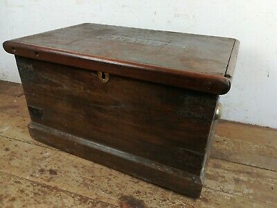 Vintage mahogany wood Carpenters tool Box Storage Chest Old metal brass handles