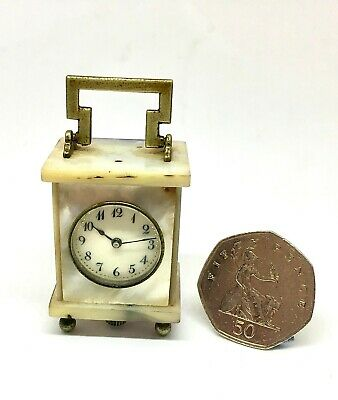 Wonderful Cased Antique Sub  Miniature Mother Of Pearl Carriage Clock