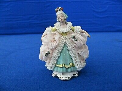 """Vintage Dresden 5"""" Lace Porcelain  Figurine.Pink and Green  Germany"""