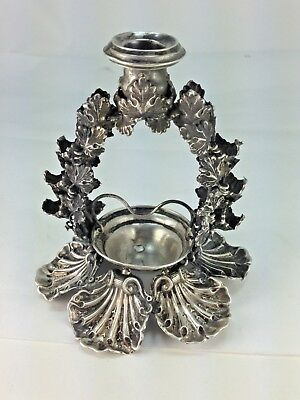 Antique Very Rare Sterling Silver English Christmas 9 Candle Shell Holder