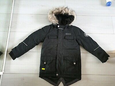 GIRLS REGATTA HOODED PADDED COAT black parka AGE 3-4 YEARS