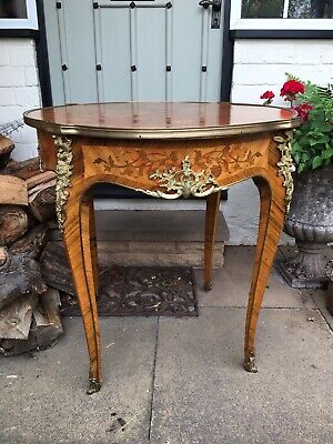 French style inlaid table with gilt detail