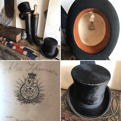 Antique Silk Black Top Hat British Victorian 19th Century Superior Manufacture