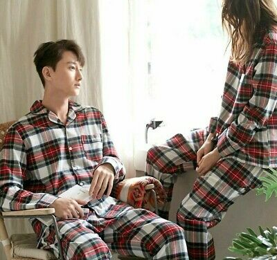 Winter Night Wear Couple Pajamas Set For Men Women Plaid Pattern Long Sleeve New