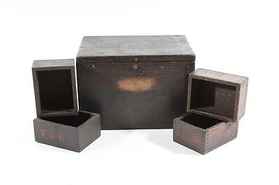 Beautiful Old Wooden Box Box Wood with 4 Smaller Boxes Boxing Old Vintage