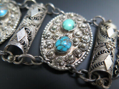 Antique Egyptian 800 Silver Turquoise Nugget Filigree Bracelet