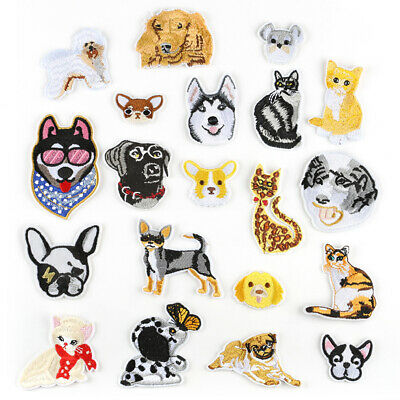 Cute Cat Dog Badge DIY Embroidered Sew Iron On Patches Clothing Fabric Appliques