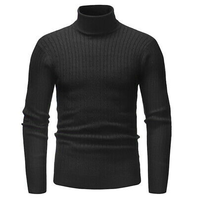 Men's Winter Warm Knitted High Roll Turtle Neck Pullover Sweater Jumper Tops