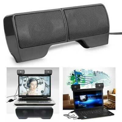 USB Clip-On Computer Sound Bar Stereo Laptop Desktop Notebook Mini Speakers *1pc