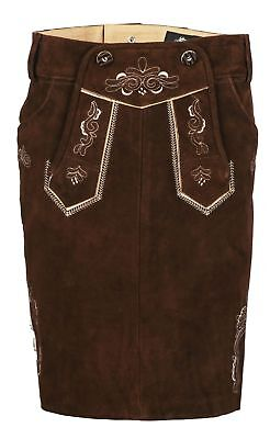 Ladies Costume Skirt Traditional Leather Oktoberfest short Braun Suede 34 - 46