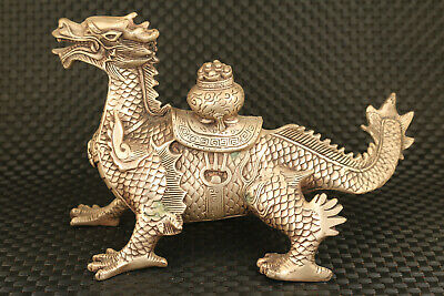 china big copper hand carved dragon horse statue collectable noble gift