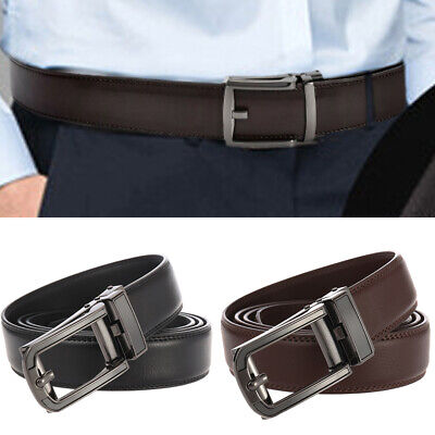 Genuine Leather Belt For Men Ratchet Belt Autonomic Belt Buckle Black Coffee GB