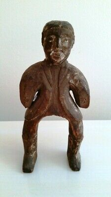 Exceptional Antique Primitive Hand Carved Wooden Figure of Man - Adirondacks