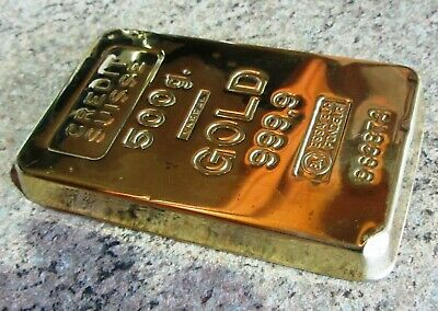 """Credit Suisse Faux Gold """"999.9"""" Paperweight Heavy Polished """"500g"""""""